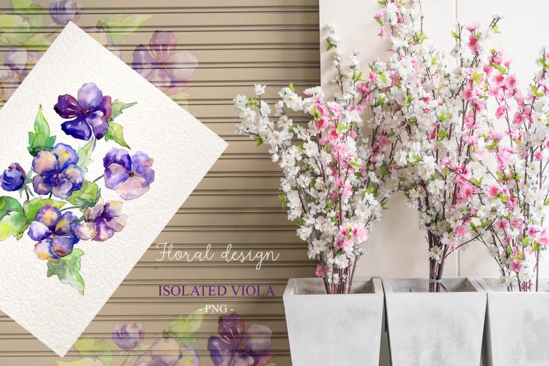 bouquet-with-violas-png-watercolor-set