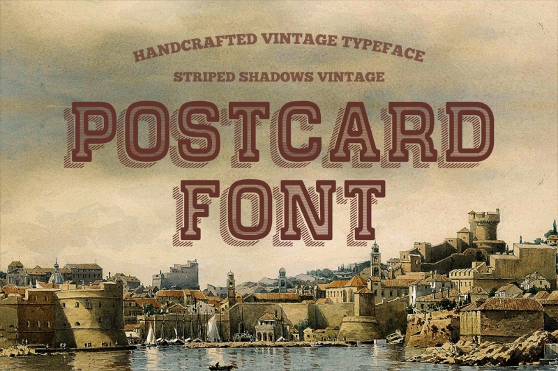postcard-font-covered-striped-shadow-vintage-typeface