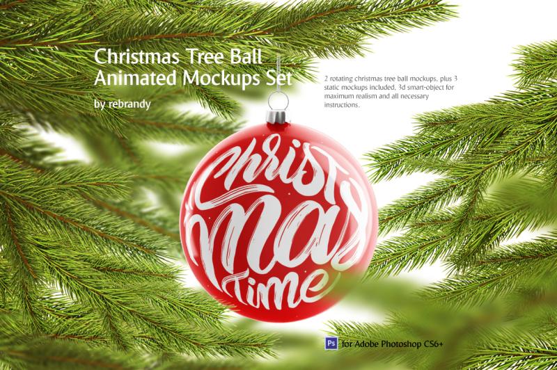Free Christmas Tree Ball Animated Mockups Set (PSD Mockups)