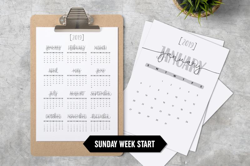 calendar-2019-a4-minimalistic-sunday-week-start