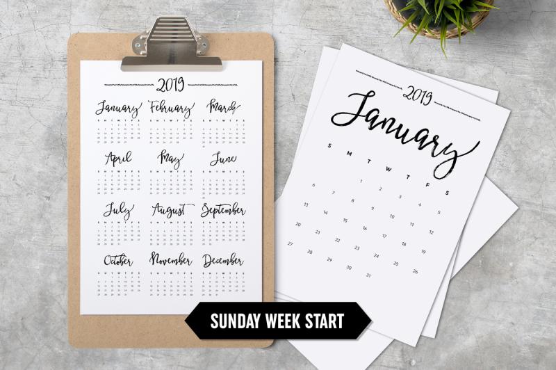 calendar-2019-a4-sunday-week-start