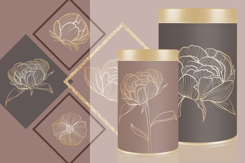 gold-flower-clipart-hand-drawn-wreath-leaves-illustration-branding