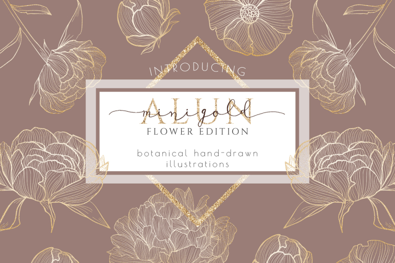 gold-flower-clipart-hand-drawn-wreath-leaves-illustration-branding
