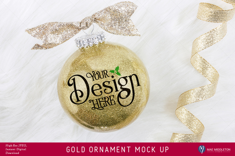 Free Gold Glitter Christmas or New Year Ornament Mock up (PSD Mockups)