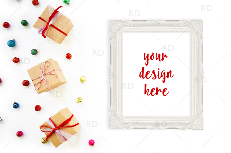 Free Christmas Frame Mockup with Gift Boxes and Ornaments (PSD Mockups)