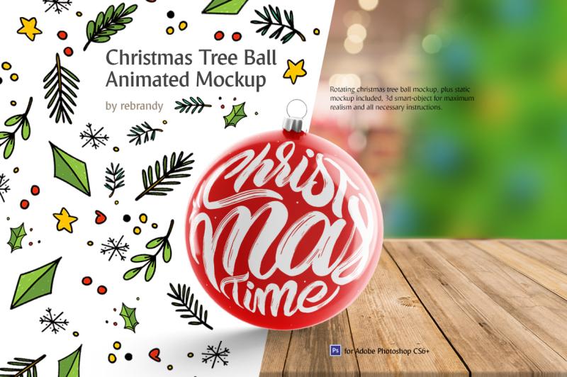 Free Christmas Tree Ball Animated Mockup (PSD Mockups)