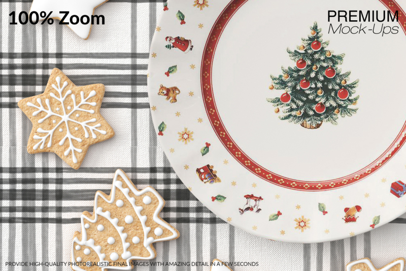 Christmas Plate Tablecloth Gingerbread Set By Mockups