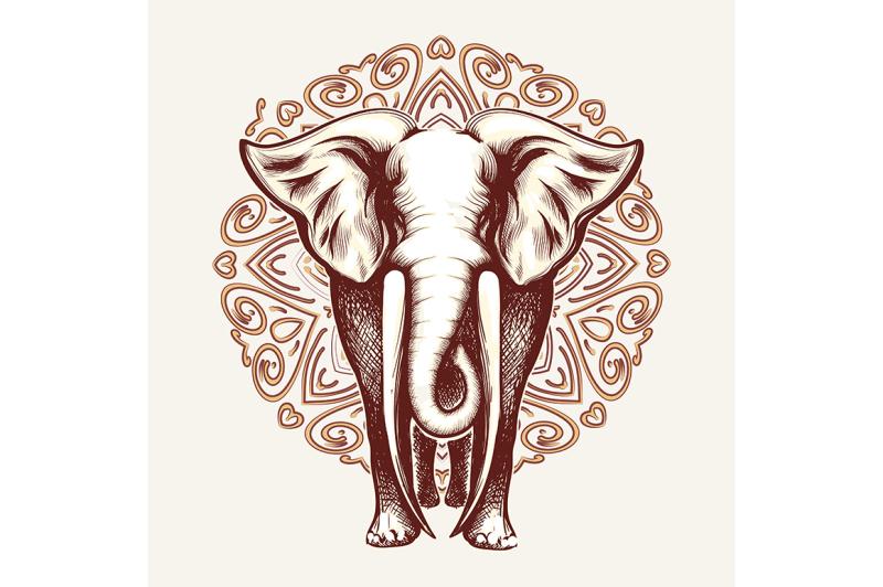 elephant-with-huge-tusks-on-mandala-pattern-background