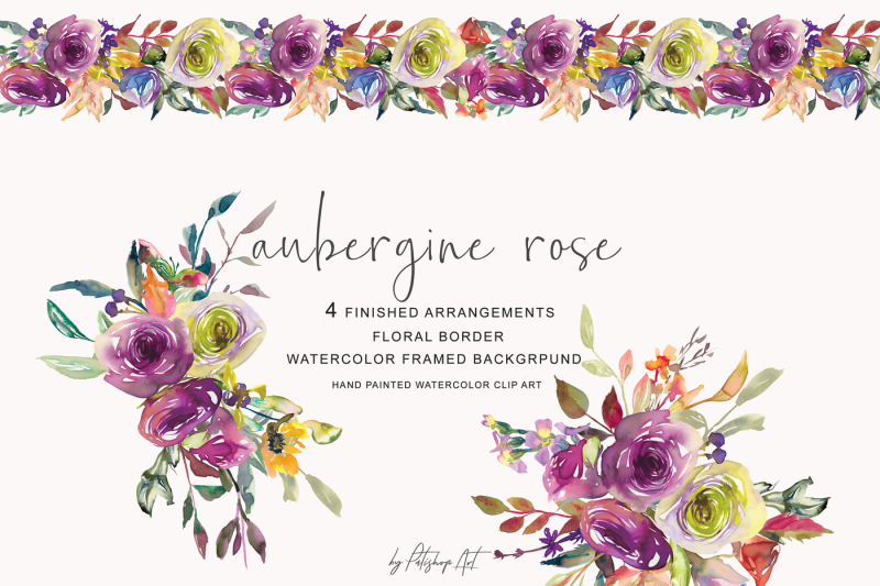 watercolor-aubergine-rose-arrangements-clipart