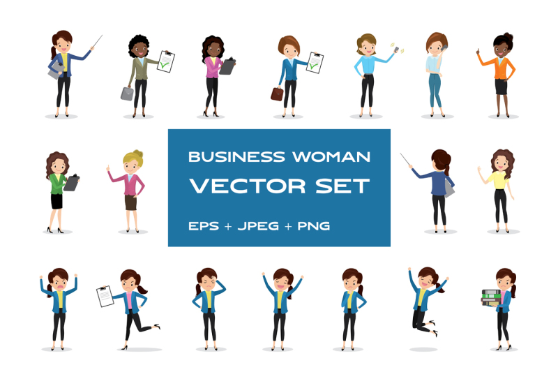 set-of-business-woman-characters