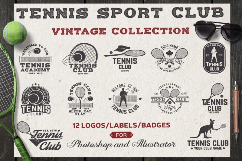 set-of-tennis-club-badges