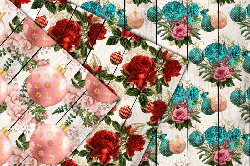 holiday-floral-wood-digital-paper