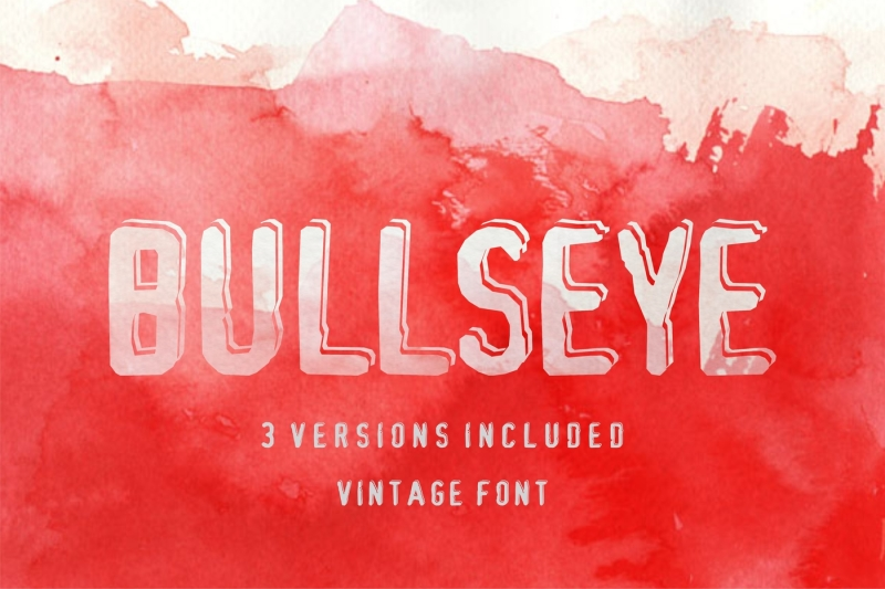 bullseye-shadowed-damaged-font-in-3-versions