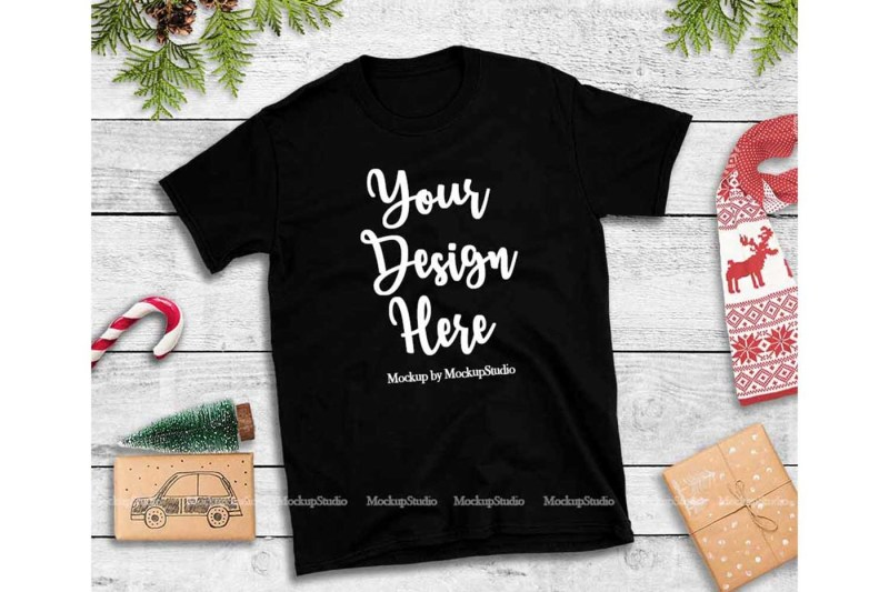 Free Black Christmas Tshirt Mockup Flat Lay Holiday Shirt Display (PSD Mockups)