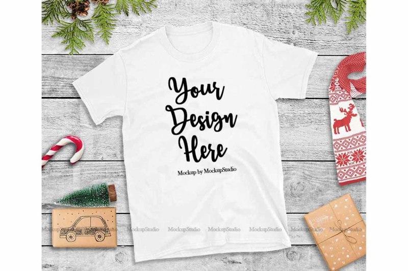 Free White Christmas Tshirt Mockup Flat Lay Holiday Shirt Display (PSD Mockups)