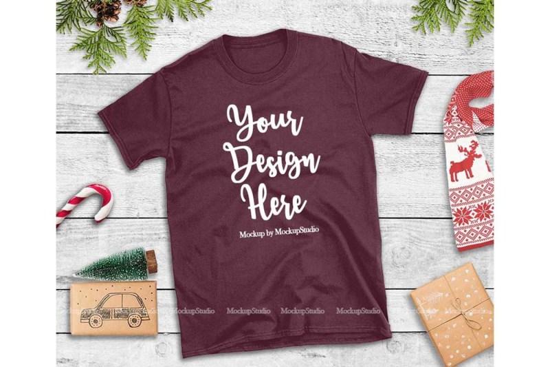 Free Maroon Christmas Tshirt Mockup Holiday Unisex Tee Flat Lay (PSD Mockups)