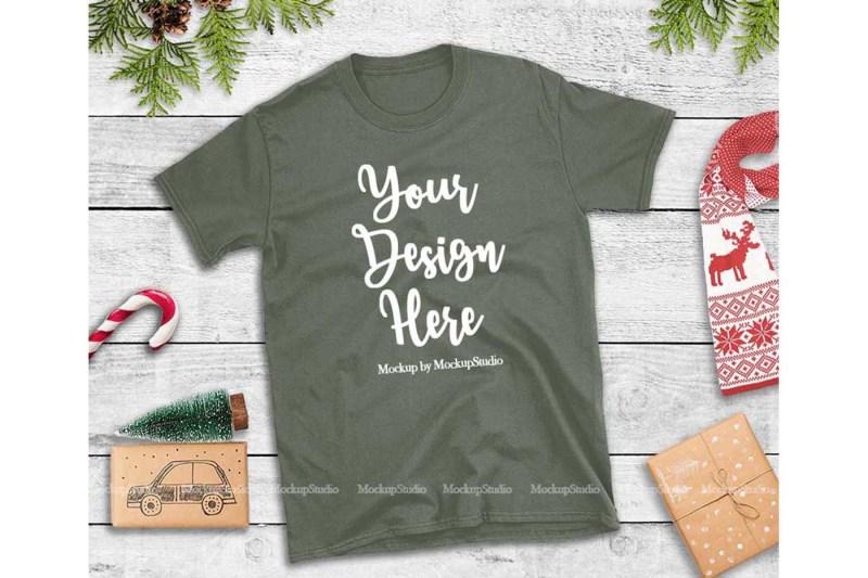 Free Military Green Christmas Tshirt Mockup Holiday Unisex Tee (PSD Mockups)