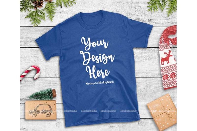 Free Royal Blue Christmas Tshirt Mockup Holiday Unisex Tee Flat Lay (PSD Mockups)