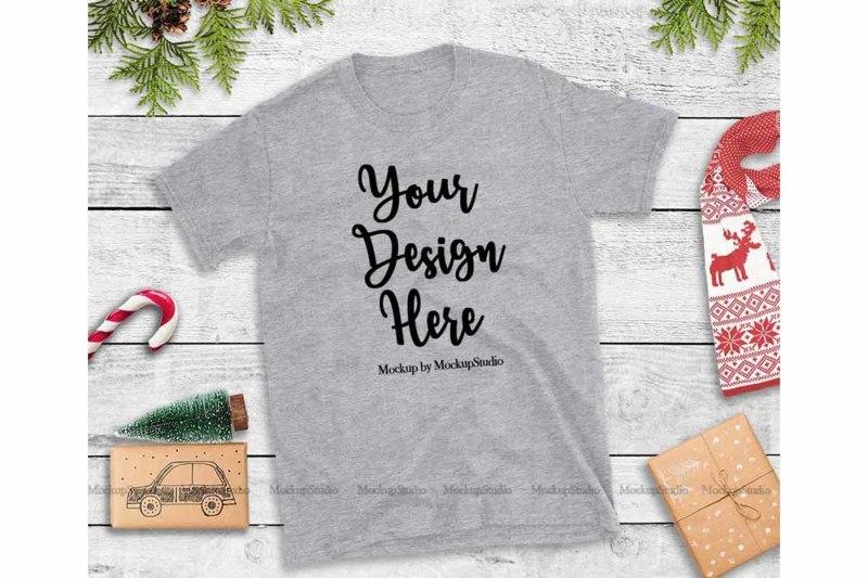 Free Sports Gray Christmas Tshirt Mockup Holiday Unisex Tee Flat Lay (PSD Mockups)