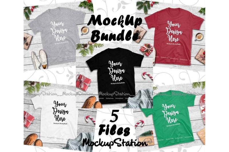 Free Christmas Tshirt Mockup Bundle 5 Colors Gildan 64000 Shirt (PSD Mockups)