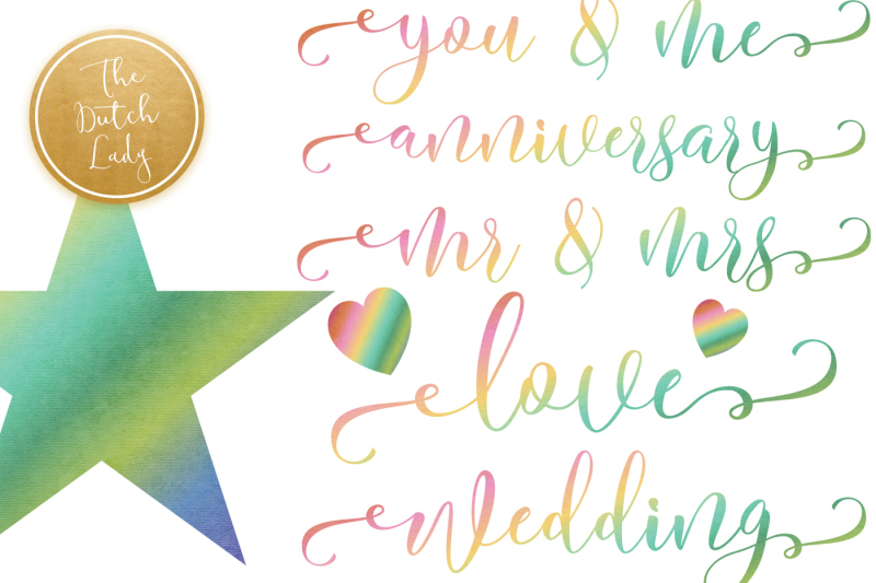 rainbow-party-and-text-clipart-set