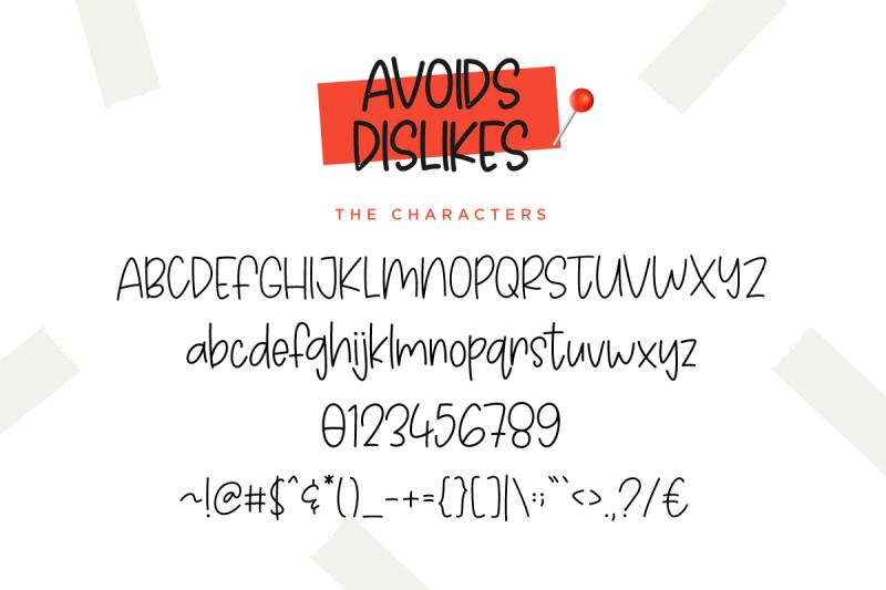 avoids-dislikes-3-handmade-font