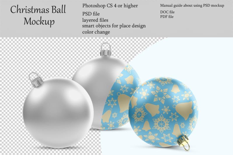 Free Christmas ball mockup. Product place. PSD object mockup. (PSD Mockups)