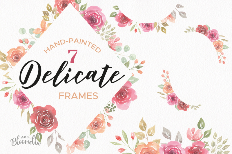 watercolour-floral-roses-clipart-flowers-delicate-wedding-pink-red