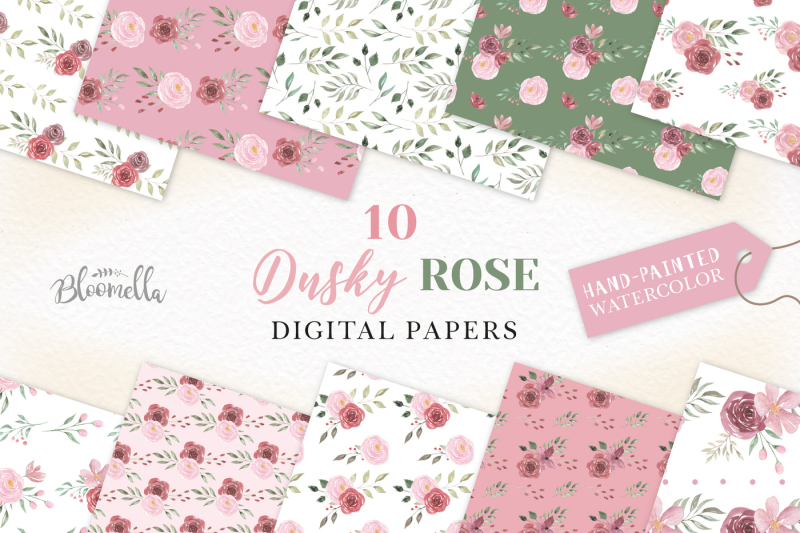 delicate-digital-papers-roses-clipart-pink-red-leaves-leaf-patterns