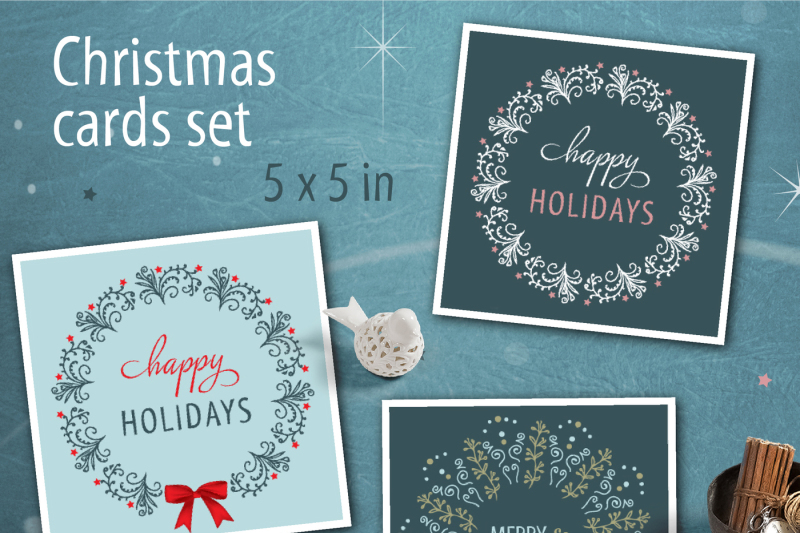 christmas-card-set-with-wreath-illustrations