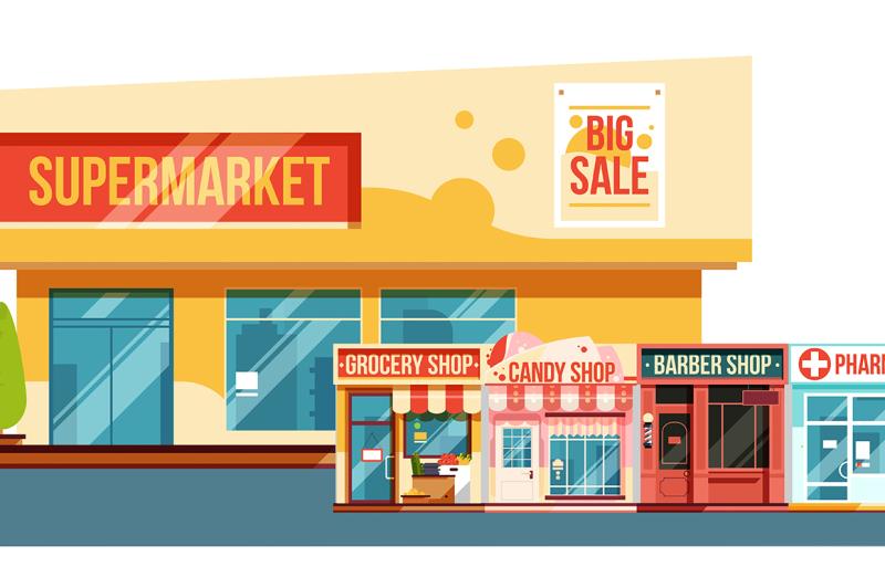 supermarket-and-small-magazines-cityscape-flat-style