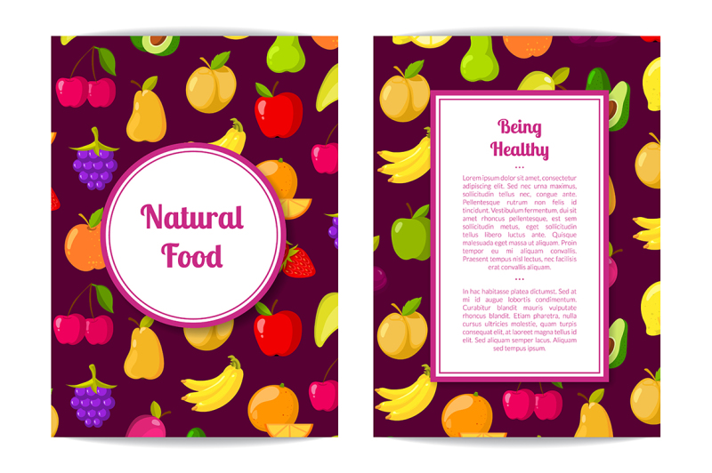 vector-flat-fruits-vegan-healthy-food-card-brochure-flyer-template