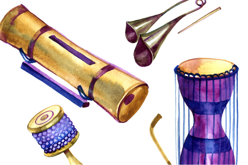 watercolor-percussion-instruments