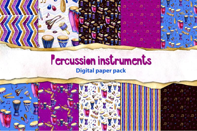 watercolor-percussion-digital-paper-pack