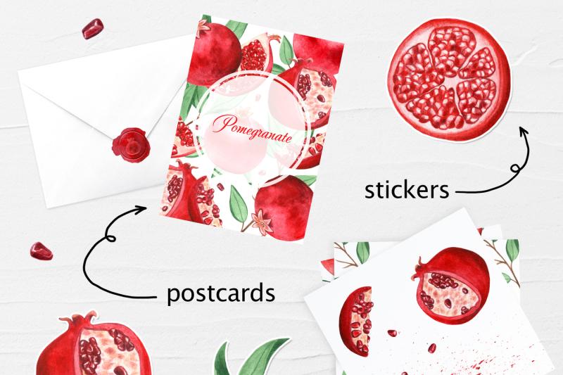 watercolor-pomegranate