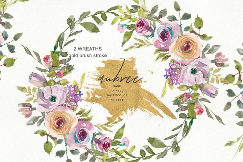watercolor-pink-mauve-rose-wreath-clipart-subtle-flowers-wreath