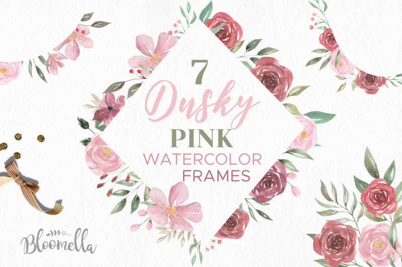 dusky-pink-flower-frames-pretty-floral-pink-deep-red-borders-clipart