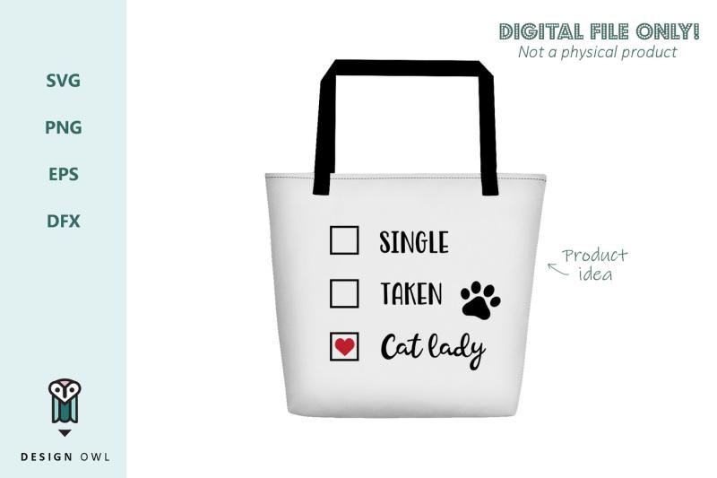 single-taken-cat-lady-svg-file