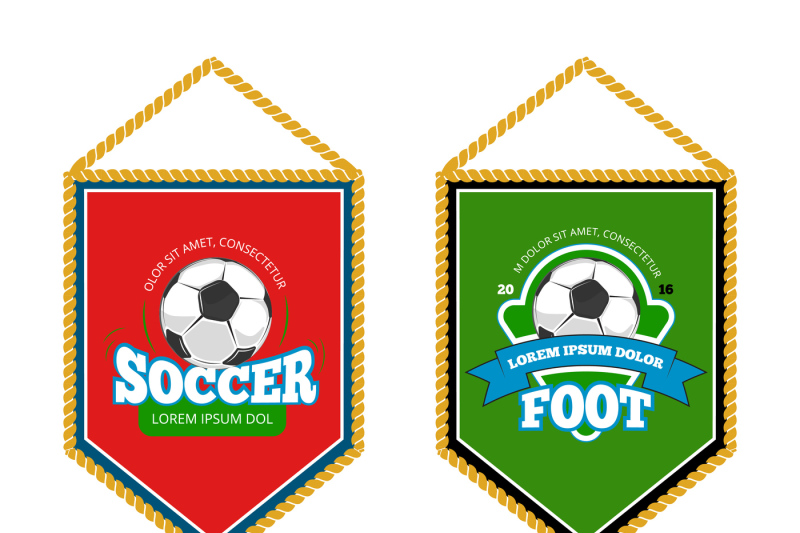 soccer-club-pennants-set-with-logo-templates-isolated