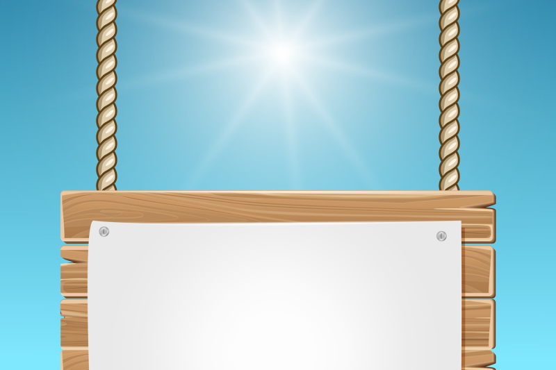 hanging-wooden-blank-sign-board-blue-sky