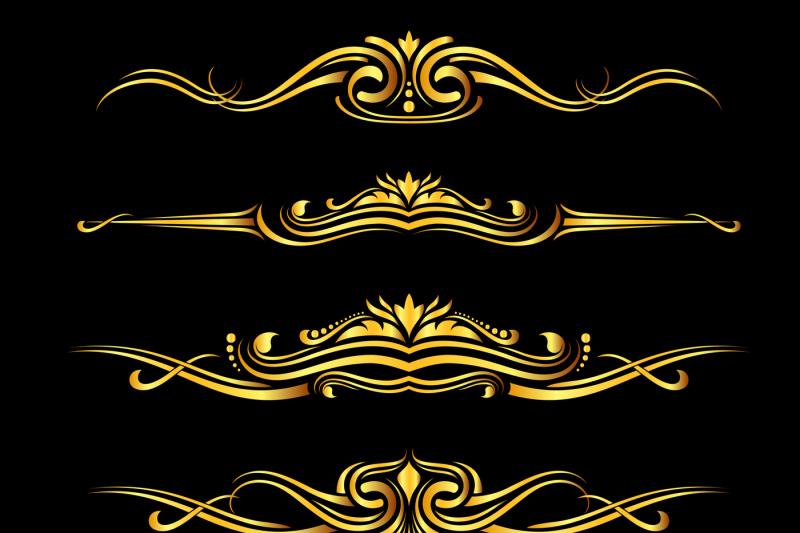 vector-golden-ornate-borders-set-black-background