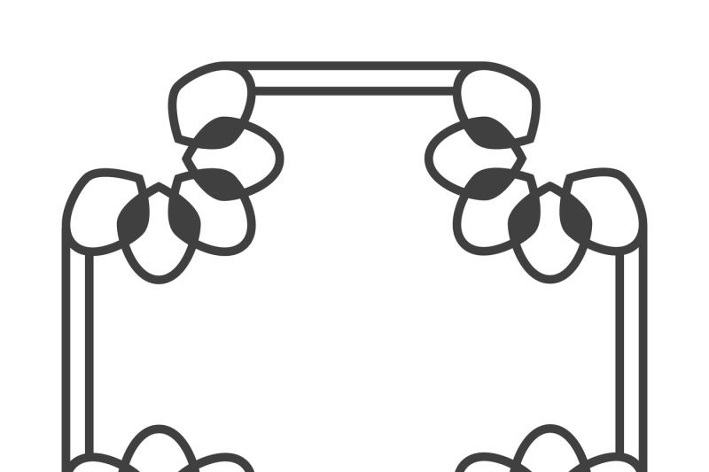 square-asian-vector-retro-frame-in-black-and-white