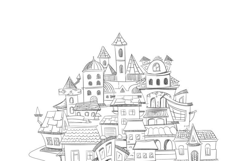 abstract-cityscape-with-hand-drawn-doodles-ink-european-home-vector-ba