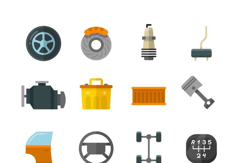 vehicle-auto-technology-car-parts-flat-vector-icons
