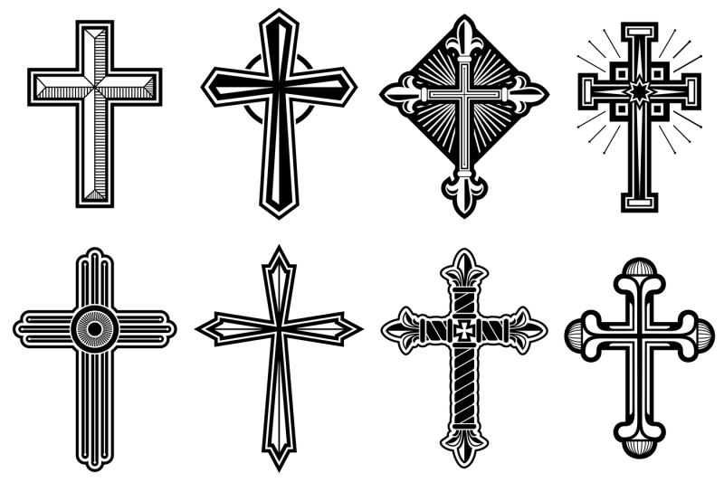 catholic-christian-cross-with-ornament-vector-icons-set