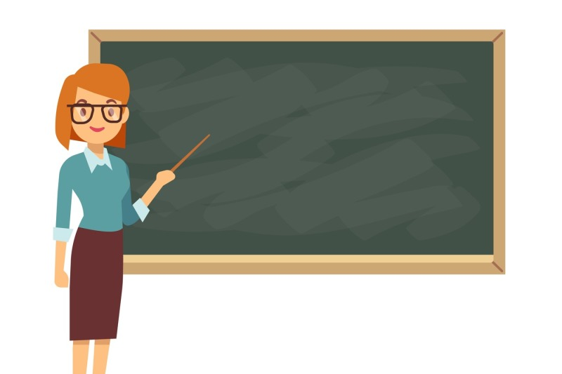 young-female-teacher-on-lesson-at-blackboard-in-classroom