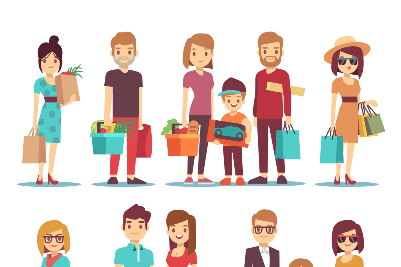 people-shopping-in-mall-vector-cartoon-characters-set