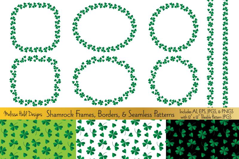 shamrock-frames-borders-amp-seamless-patterns