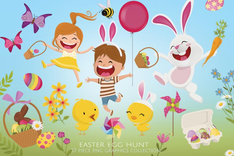 easter-egg-hunt-clip-art-set