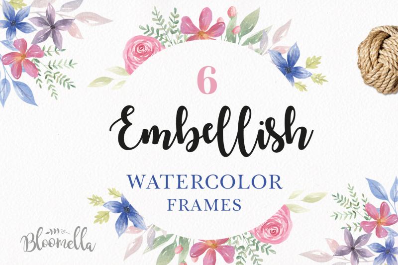 embellish-watercolor-floral-frames-borders-painted-summer-set-clipart